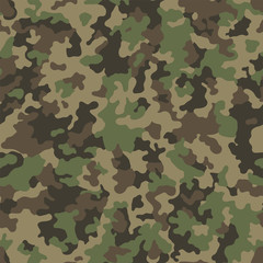 Abstract military or hunting camouflage background. Seamless pattern. Brown, green, color.