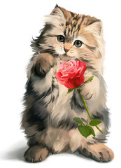 Kitty gives rose watercolor painting