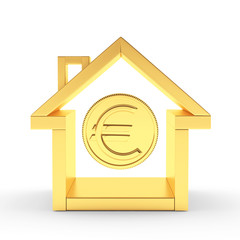 Real estate concept. Golden house icon and coin with euro sign isolated on white. 3D illustration