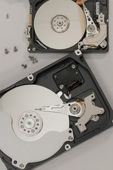 Process of disassembly of hard disks