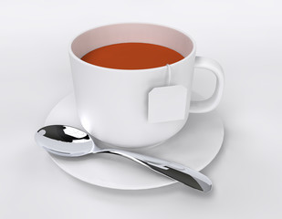 tea cup white label 3D rendering