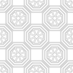 Black and white seamless geometric pattern with polygons for coloring book