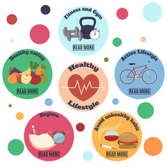 Healthy lifestyle infographic banner. Flat vector icons on colorful circles background