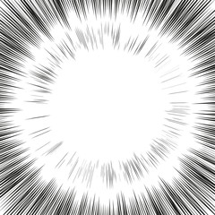 Comic book radial lines background. Black and white rays. Manga explosion with speed lines.
