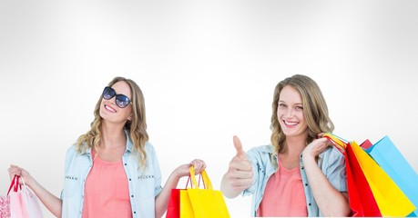 Multiple image of woman with shopping bags
