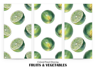 Set of seamless patterns with green limes drawn by hand with colored pencil. Healthy vegan food. Fresh tasty fruits painted from nature
