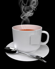 steaming tea isolated on black 3D rendering