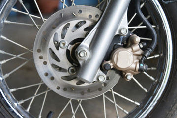 detail of a motorcycle's front wheel