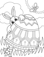 Easter Bunny Egg Hunt (Coloring Page)