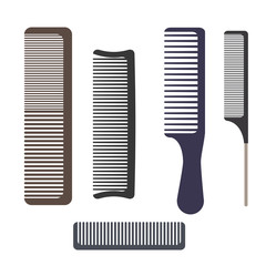 A set of different professional combs. Hairbrushes for hair isolated on white background. Vector illustration.