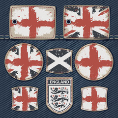 vector set of labels for jeans with pictures British flags on a background of denim