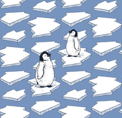 seamless pattern with hand drawn arctic little pinguins on ice floe