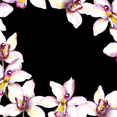 Contrast black card - white orchid flower. Hand painted watercolor drawing