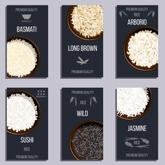 Labels set with Different types of rice in pots