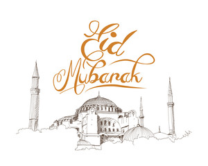 Hand drawn sketch of the world famous Blue mosque in Istanbul with Eid Mubarak text in vector illustration.