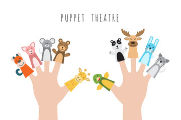 Figures of animals, heroes of the puppet theatre which put in the fingers of the hand. Vector illustration of characters to play with the children in role-playing games.