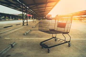Shopping cart in parking lot.