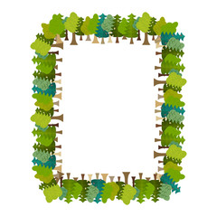 Frame is tree rectangular. Forest background. Nature backdrop