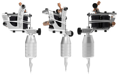 Silver metallic grey tattoo machine with black gloss coils set