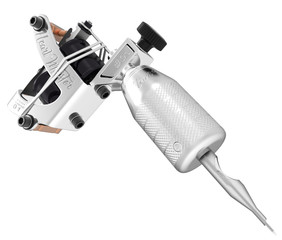 Metallic silver gloss tattoo machine with text and plastic tip.