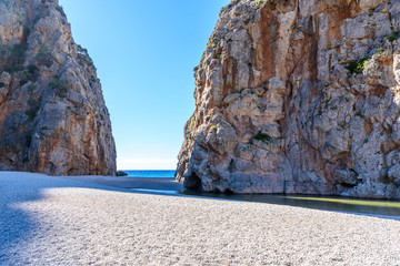 Wall Mural - Torrent de Pareis - canyon with beautiful beach on Mallorca, Spain