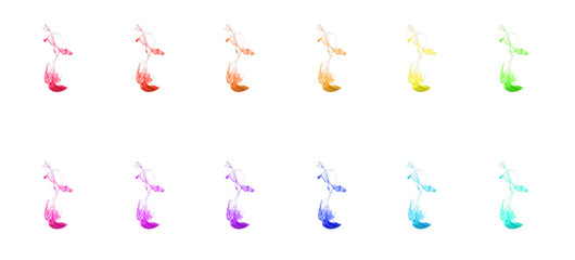 set of colorful ink isolated on white background. red drop swirling under water.