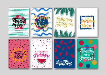 Summer greeting card templates set