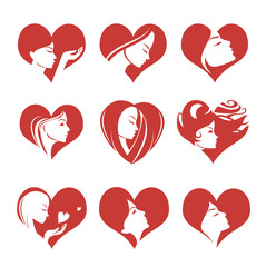 Girls silhouette in hearts, vector icons