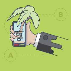 Hand with phone vector illustration in flat style. The phone shows a palm and car.