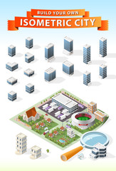 Set of Isolated High Quality Isometric City Elements . Harbor with Shadows on White Background