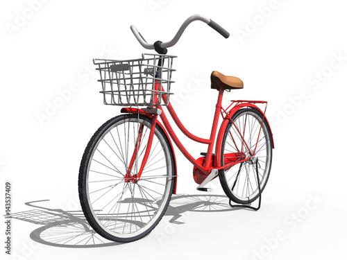3d damen fahrrad mit korb freigestellt rot stockfotos. Black Bedroom Furniture Sets. Home Design Ideas
