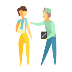 Doctor holding roentgen image and helping a woman with a broken arm. Colorful cartoon characters