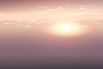 Blur Sky Grey Cloud Sunshine Background Flat Vector Illustration