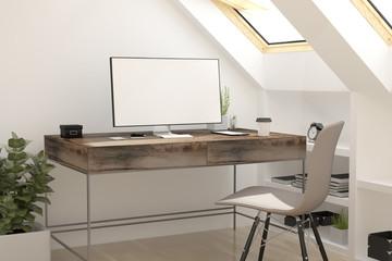 attic workplace white screen
