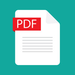 PDF file icon. Flat design graphic illustration. Vector PDF icon.