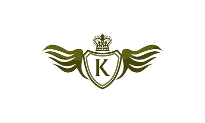 Wing Shield Crown Logo Initial K