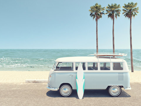 retro summer at the beach. 3d rendering