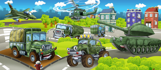 cartoon stage with different military machines colorful and cheerful scene