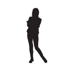 Girl Black Silhouette Female Figure Isolated Over White Background Vector Illustration