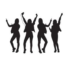 Dancing Girl Group Black Silhouette Female Figure Isolated Over White Background Vector Illustration