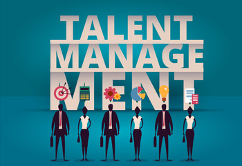 Business talent management concept. HR manager hiring employee or workers for job. Recruiting staff in company. Organizational socialization illustration. Acquisition or onboarding illustration.