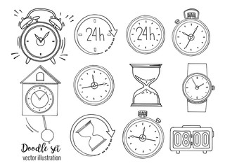 Set of doodle sketch watches. Alarm clocks, sand glasses, stop-watch and timer. Time icon in Hand-drawn style. Vector illustration.