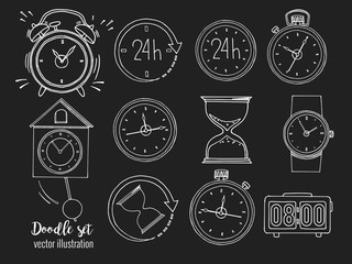 Set of doodle sketch watches on blackboard. Alarm clocks, sand glasses, stop-watch and timer. Time icon in Hand-drawn style. Vector illustration.