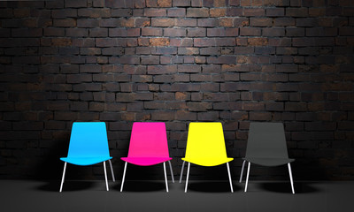 3D CMYK chair and brick wall