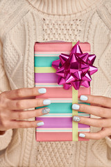 Wall Mural - Beautiful gift box in bright stripes.