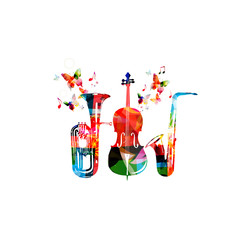 Colorful euphonium, saxophone and violoncello with music notes and butterflies isolated vector illustration. Music instrument background for poster, brochure, banner, flyer, concert, music festival