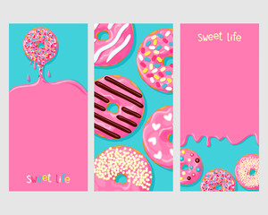 A set of three posters of donuts: donut dripping with it with frosting, donuts with different toppings, and icing flowing down on the donuts