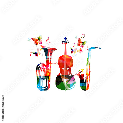 """""""Colorful Euphonium, Saxophone And Violoncello With Music"""