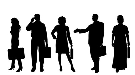 Vector silhouette of businesspeople on white background.