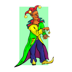 Jokes gives the mouse cheese, in a multi-colored raincoat, yellow boots.